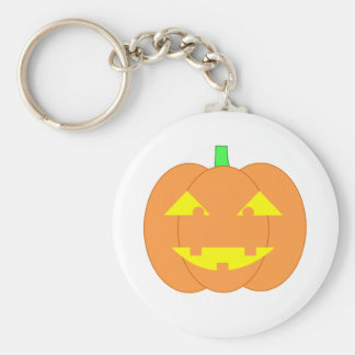 Spooky Orange Jack-o'-Lantern Basic Round Button Keychain
