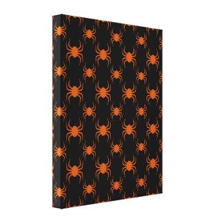 Spooky Orange Spiders Canvas Print
