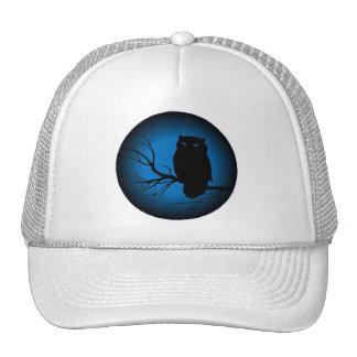 Spooky Owl Blue Moon Trucker Hats