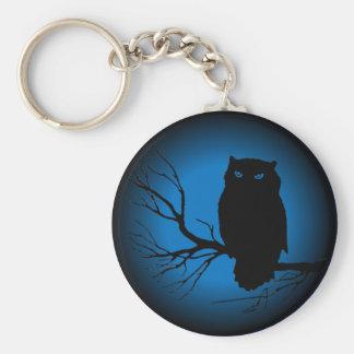 Spooky Owl Blue Moon Keychain