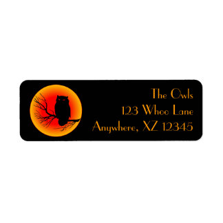 Spooky Owl Moon Return Address Label