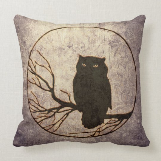 Spooky Owl on Branch Pillow