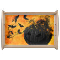 Spooky Pumpkin/Bats Samhain Halloween Serving Tray
