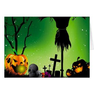 Spooky Pumpkin Graveyard Halloween Greetings Card