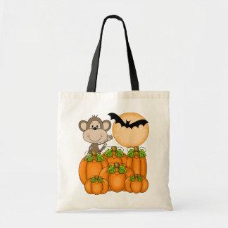 Spooky Pumpkin Patch Monkey Tote Bag