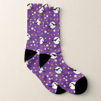 Spooky Purple Halloween Black Bats Full Moon Funky Socks