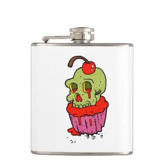 spooky skull cupcake cartoon hip flask