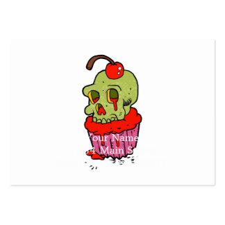 spooky skull cupcake cartoon large business card