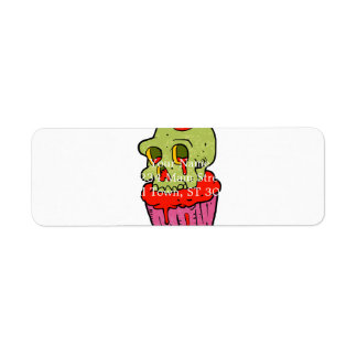spooky skull cupcake cartoon return address label