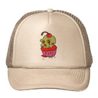 spooky skull cupcake cartoon trucker hat