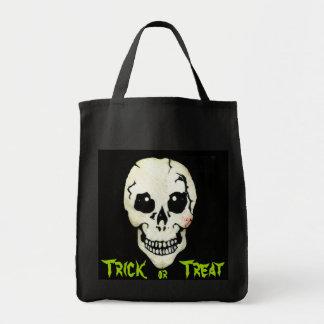Spooky Skull Green Trick or Treat Halloween Bag