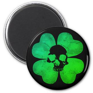 Spooky skull shamrock magnet