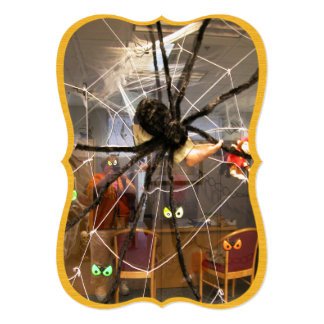 Spooky Spider Halloween Office Decorations Photo 5x7 Paper Invitation Card