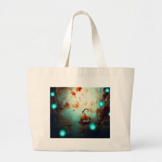 Spooky Tree and Pumpkin2 Large Tote Bag