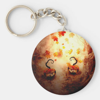 Spooky Tree and Pumpkin Basic Round Button Keychain