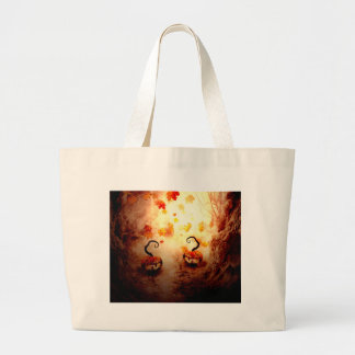 Spooky Tree and Pumpkin Large Tote Bag