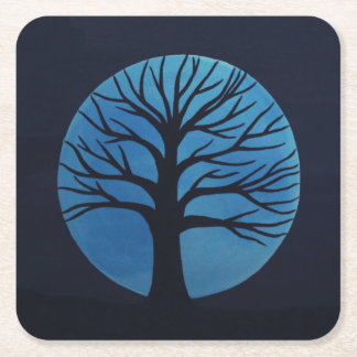 Spooky Tree (Blue) Coasters