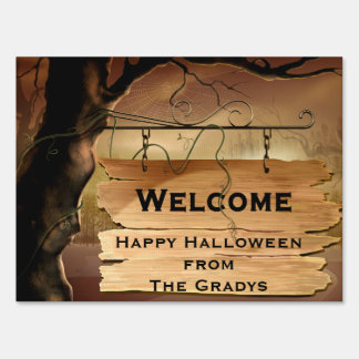 Spooky Tree Spider Web Sign Halloween Yard Signs