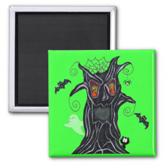 Spooky Tree With Halloween Friends Magnet