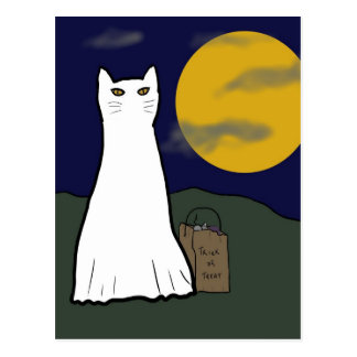 Spooky Trick or Treat Kitty Postcard