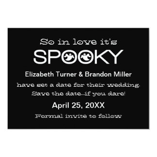 "Spooky Typography Halloween Save the Date 5"" X 7"" Invitation Card"