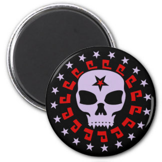 Spooky Vampire Skull with Pentagram and Stars 2 Inch Round Magnet