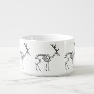 Spooky vintage skeleton reindeer drawing bowl