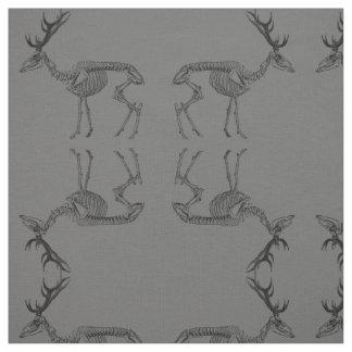 Spooky vintage skeleton reindeer drawing fabric