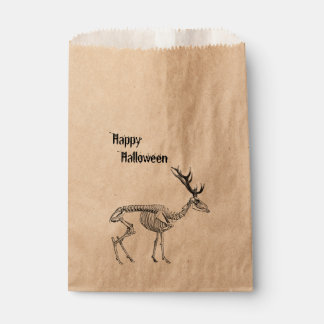 Spooky vintage skeleton reindeer drawing favour bag