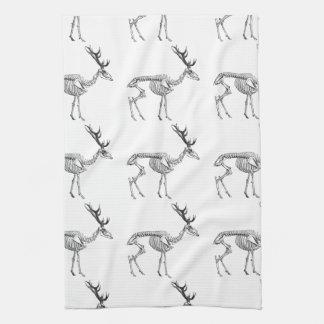 Spooky vintage skeleton reindeer drawing kitchen towel