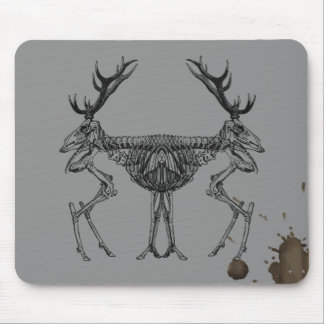 Spooky vintage skeleton reindeer drawing mouse pad