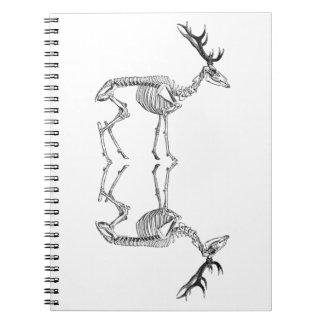 Spooky vintage skeleton reindeer drawing notebook