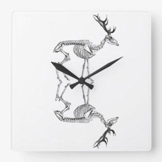 Spooky vintage skeleton reindeer drawing square wall clock