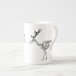 Spooky vintage skeleton reindeer drawing tea cup