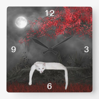 Spooky white cat square wall clock