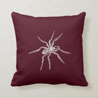 Spooky White Spider on Wine Throw Pillow