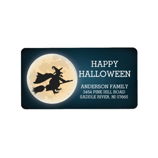 Spooky Witch Happy Halloween Return Address Label