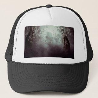 Spooky Witch House in Mist Trucker Hat