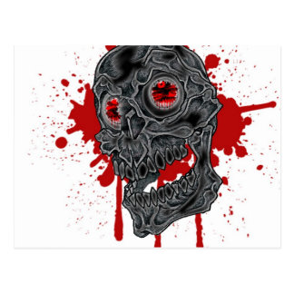 Spooky Yet Goofy Drip Skull design Postcard