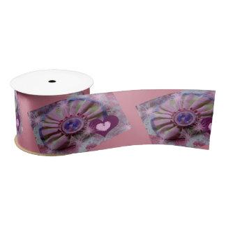 Spool of Ribbon, 2-inch, Pink, Hearts Satin Ribbon