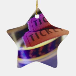 Spool of Tickets Ceramic Star Ornament