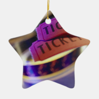 Spool of Tickets Double-Sided Star Ceramic Christmas Ornament