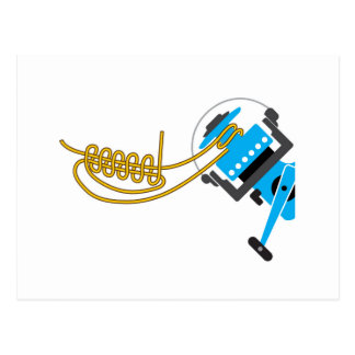 Spool uni knot for spinning reel vector diagram postcard