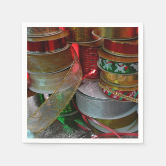 Spools of Christmas Ribbon Holiday Red and Gold Paper Napkins