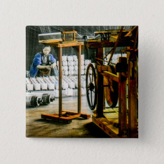 Spools of Silk in Factory Old Japan Vintage 2 Inch Square Button