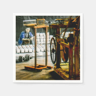 Spools of Silk in Factory Old Japan Vintage Disposable Napkins