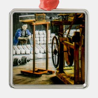 Spools of Silk in Factory Old Japan Vintage Metal Ornament