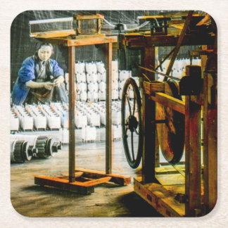 Spools of Silk in Factory Old Japan Vintage Square Paper Coaster