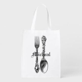 Spoon and Fork Cutlery Vintage Art Bag Custom Name