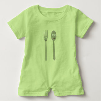 Spoon and Fork Kawaii Zqdn9 Baby Romper